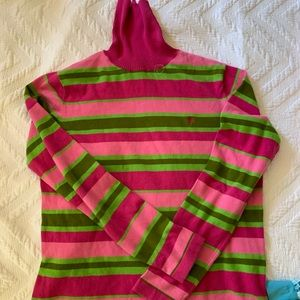 Lilly Pulitzer Pink & Green Striped Turtleneck, L